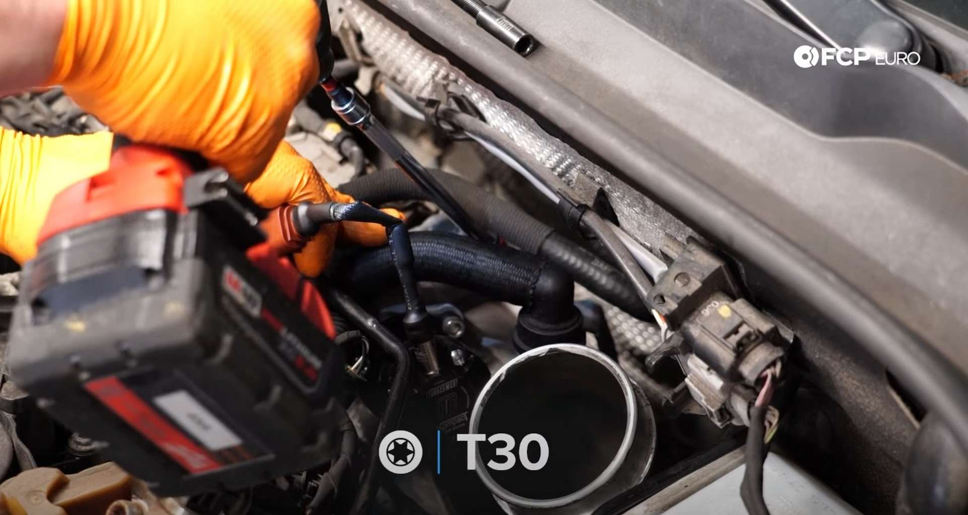 DIY MK7 VW GTI Turbocharger Upgrade removing the pipe's mounting bolt