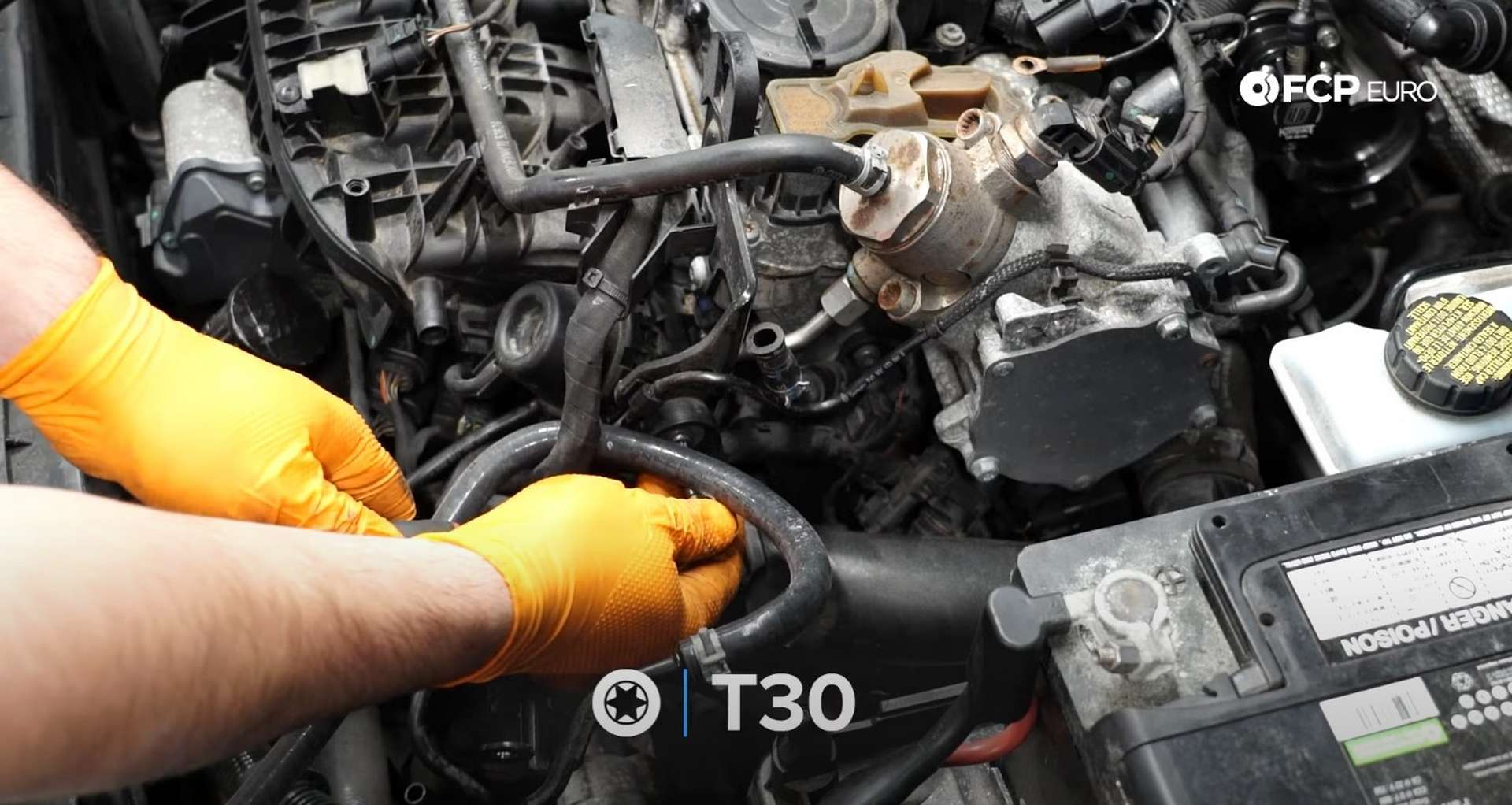 DIY MK7 VW GTI Turbocharger Upgrade removing the charge pipe's mounting bolt