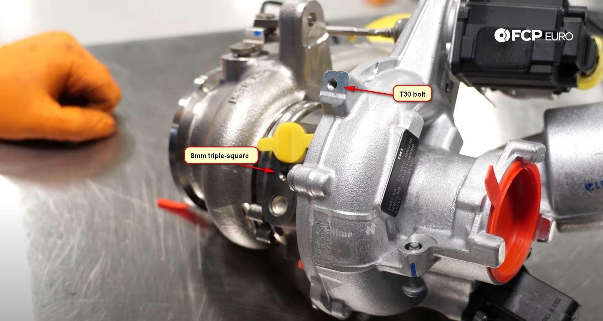 DIY MK7 VW GTI Turbocharger Upgrade bolt locations on new turbo