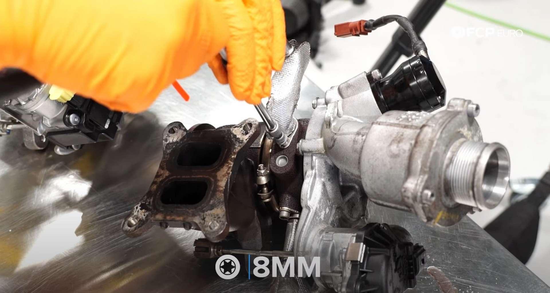 DIY MK7 VW GTI Turbocharger Upgrade removing the coolant return line fitting