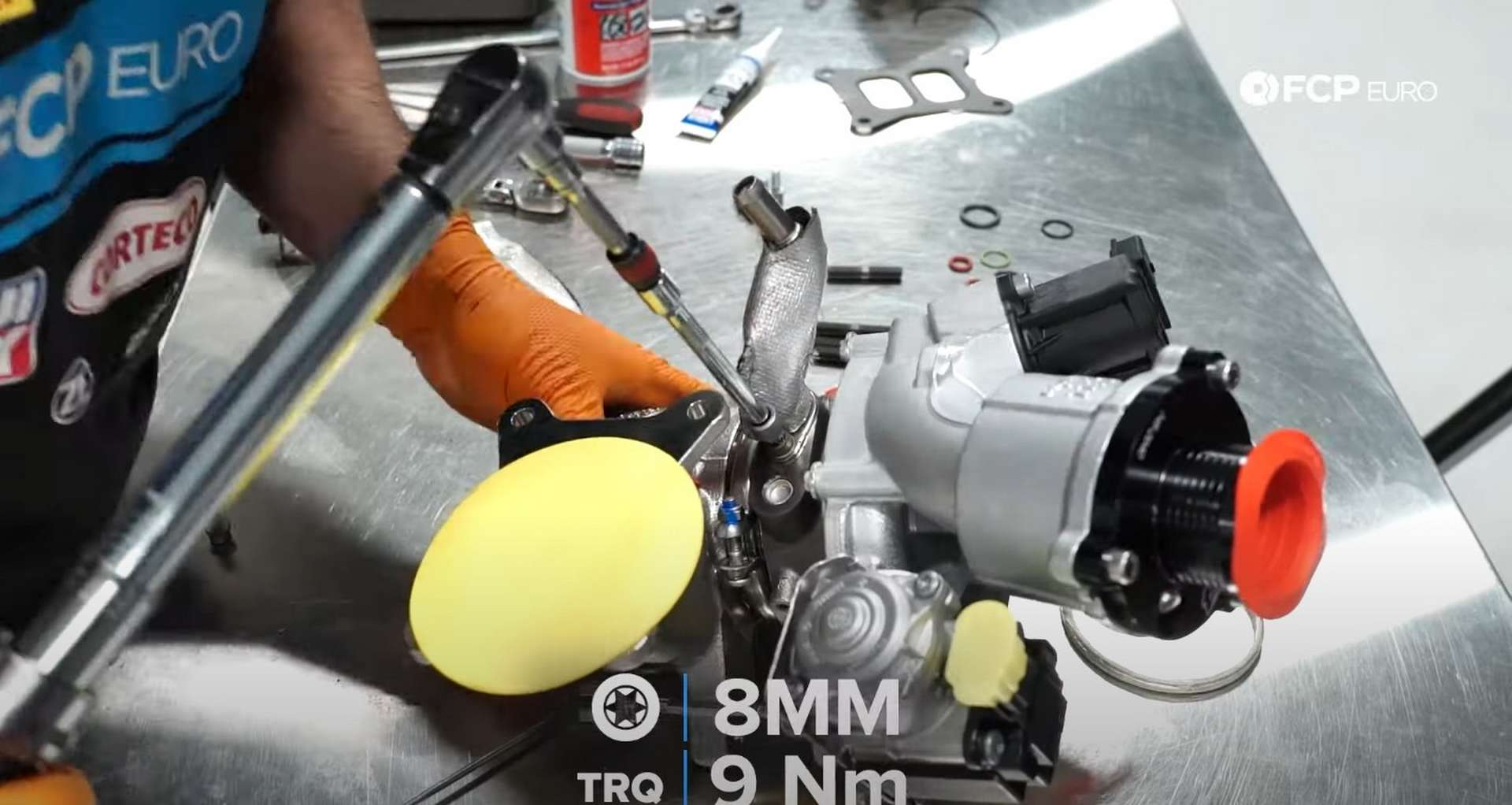 DIY MK7 VW GTI Turbocharger Upgrade torquing the fitting's bolts