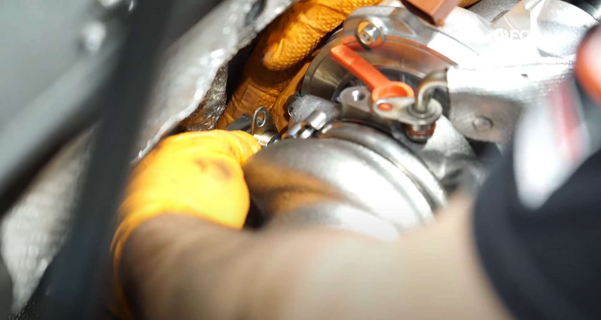 DIY MK7 VW GTI Turbocharger Upgrade installing the coolant feed line