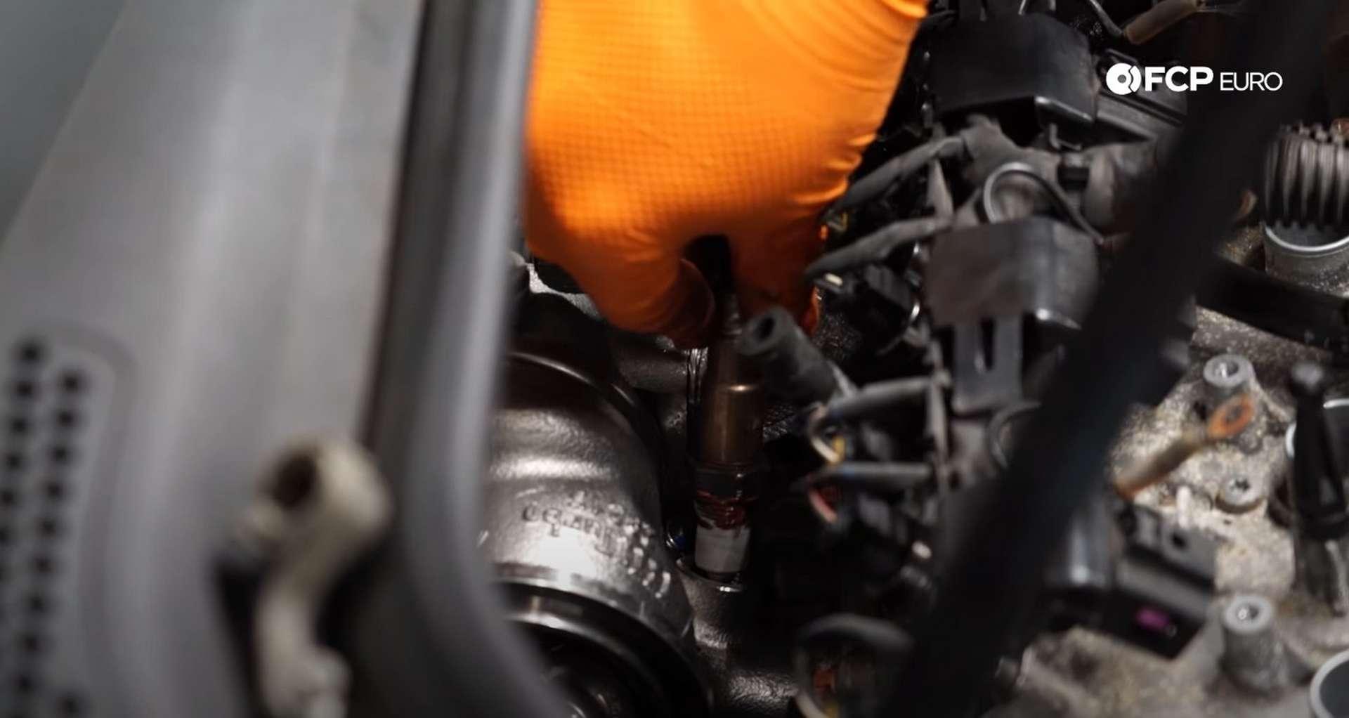 DIY MK7 VW GTI Turbocharger Upgrade installing the upper O2 sensor