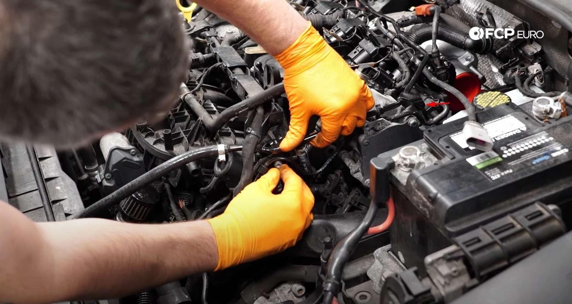 DIY MK7 VW GTI Turbocharger Upgrade coolant line bolt locations