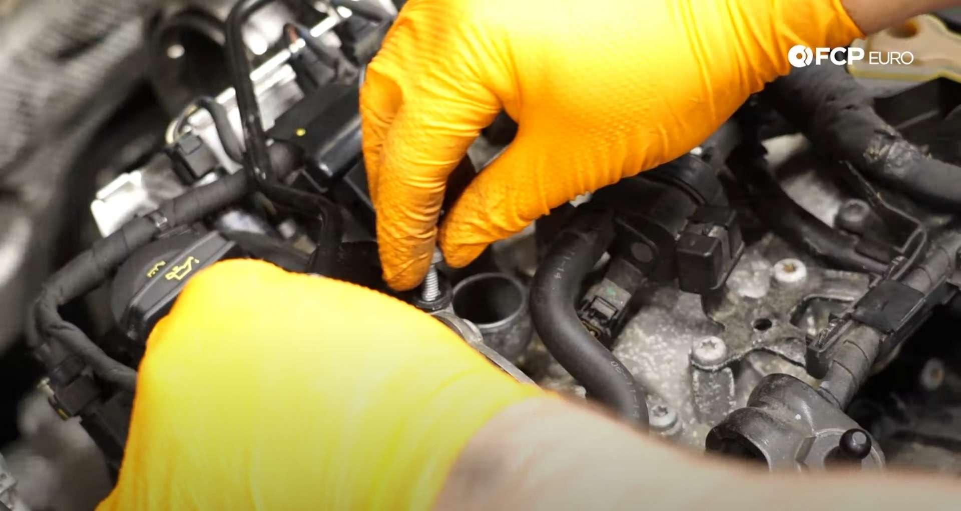 DIY MK7 VW GTI Turbocharger Upgrade coolant line bolt location