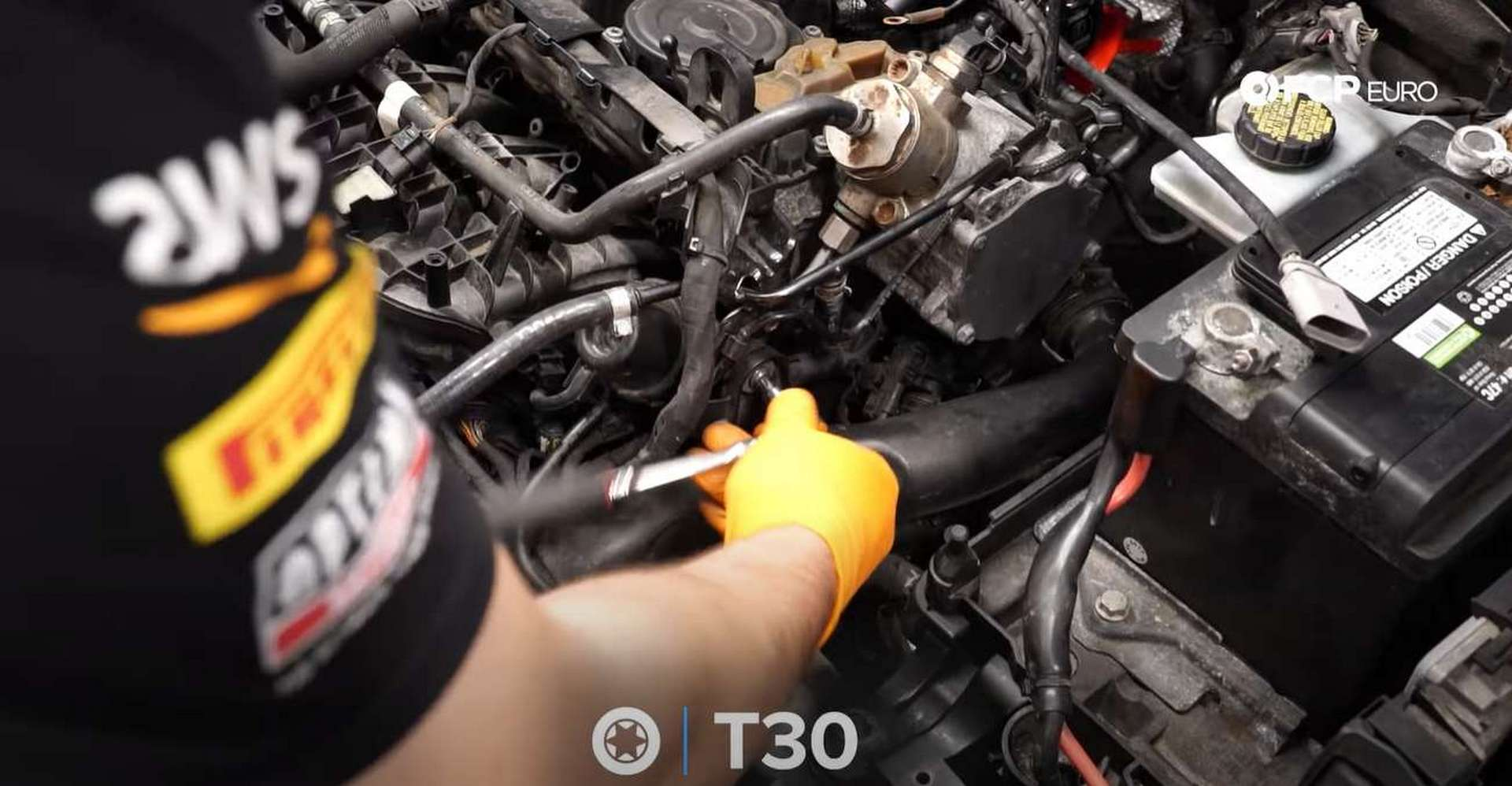 DIY MK7 VW GTI Turbocharger Upgrade securing the charge pipe to the engine