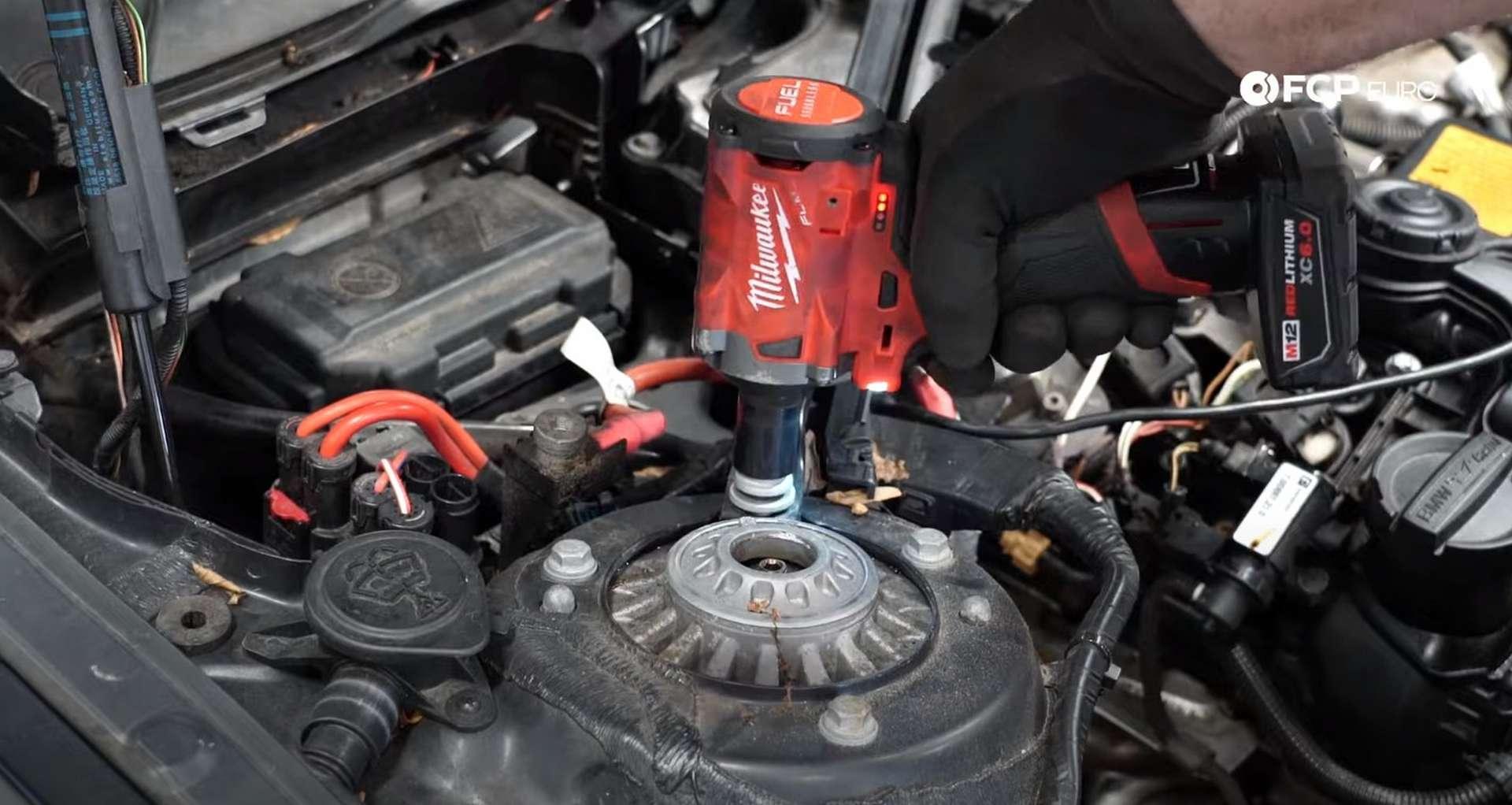 DIY BMW F30 High-Pressure Fuel Pump Replacement removing the strut brace