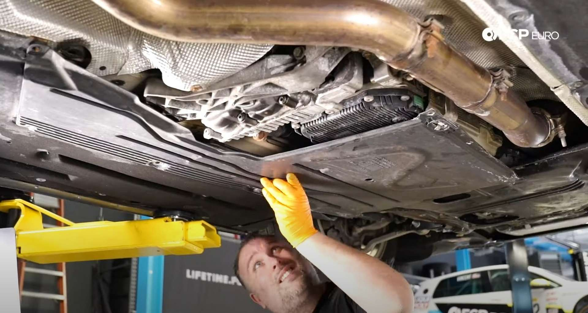 DIY BMW F30 Front Differential Fluid Replacement removing the underbody panels