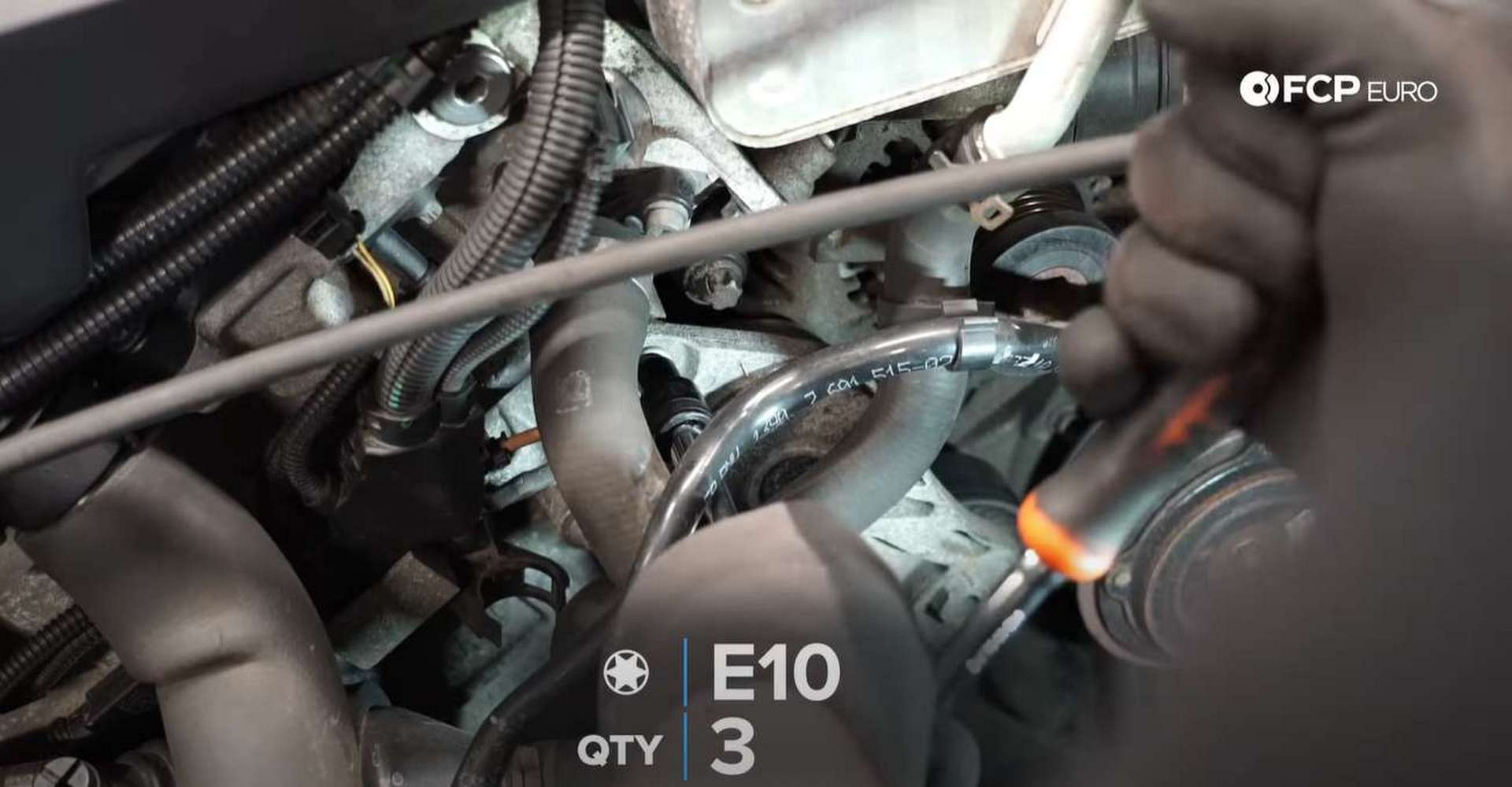DIY BMW F30 Serpentine Belt Replacement removing the tensioner's bolts