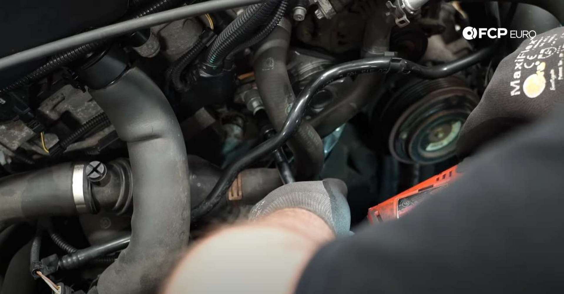 DIY BMW F30 Serpentine Belt Replacement installing the new tensioner
