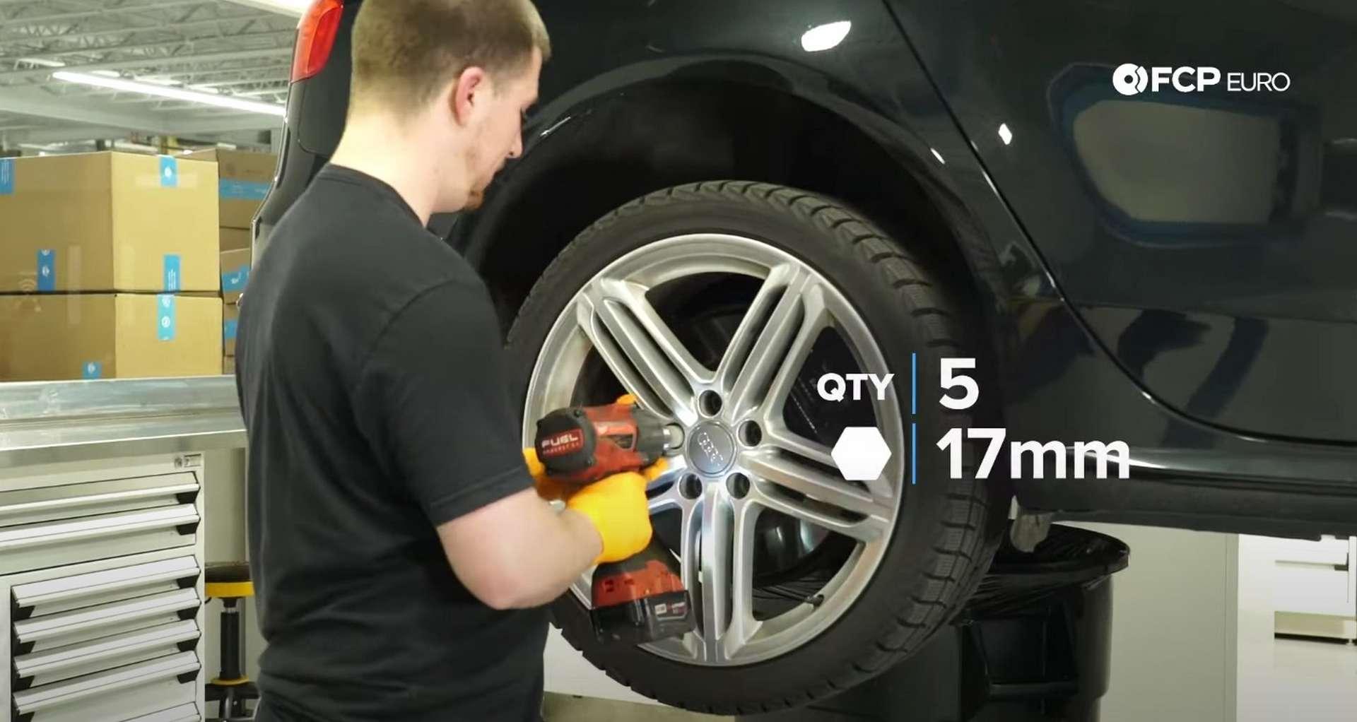 DIY Audi B8 S4 Rear Brake Service removing the wheel