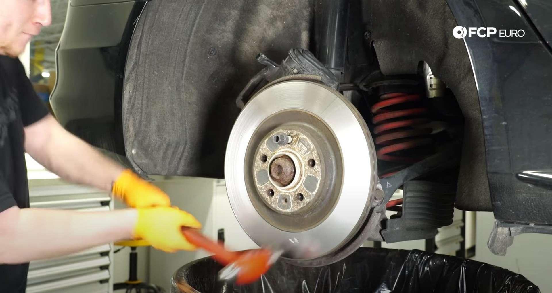 DIY Audi B8 S4 Rear Brake Service hitting the rotor