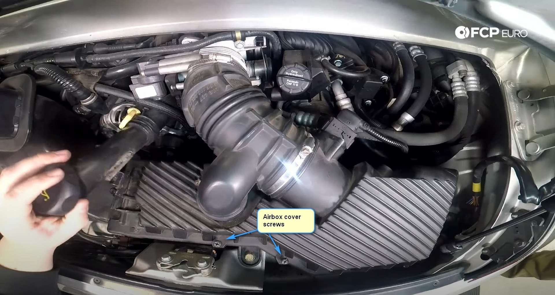 DIY Porsche 996 997 Engine Air Filter Replacement removing the oil filler tube
