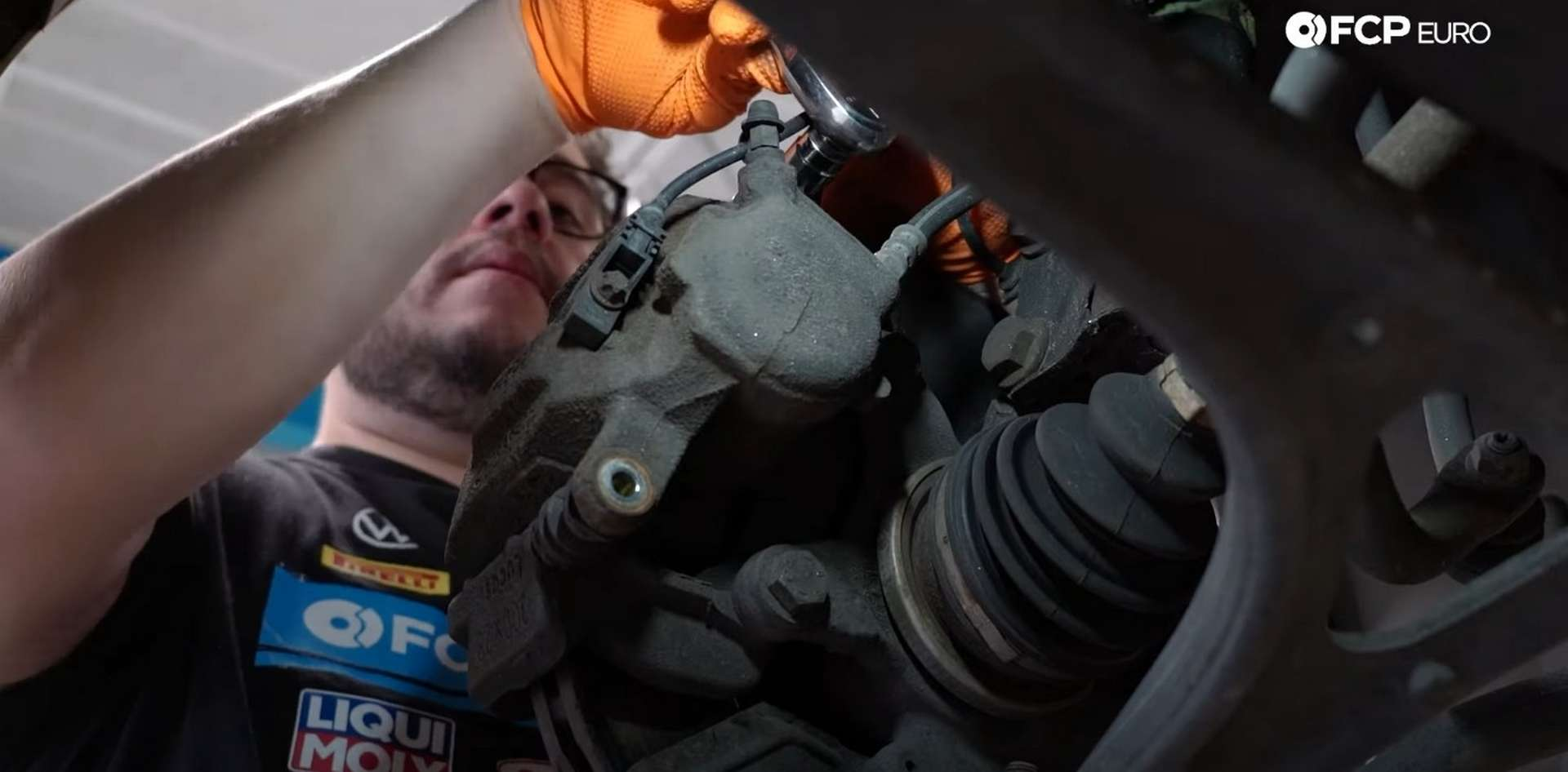 DIY Mercedes W203 Front Brake Service removing the caliper's guide pins