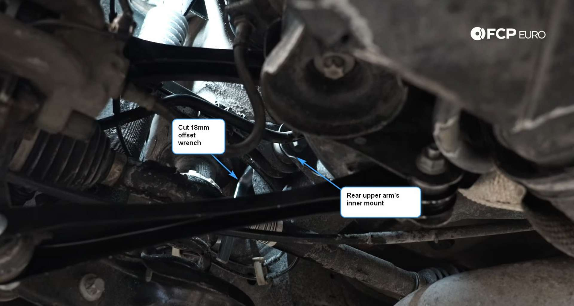 DIY BMW F30 Rear Control Arm Replacement rear upper arm's inner mount with the cut wrench
