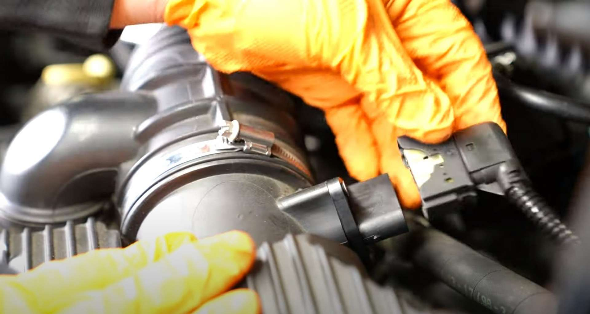 Porsche 996 Engine Mount Replacement removing the oil filler neck from the airbox