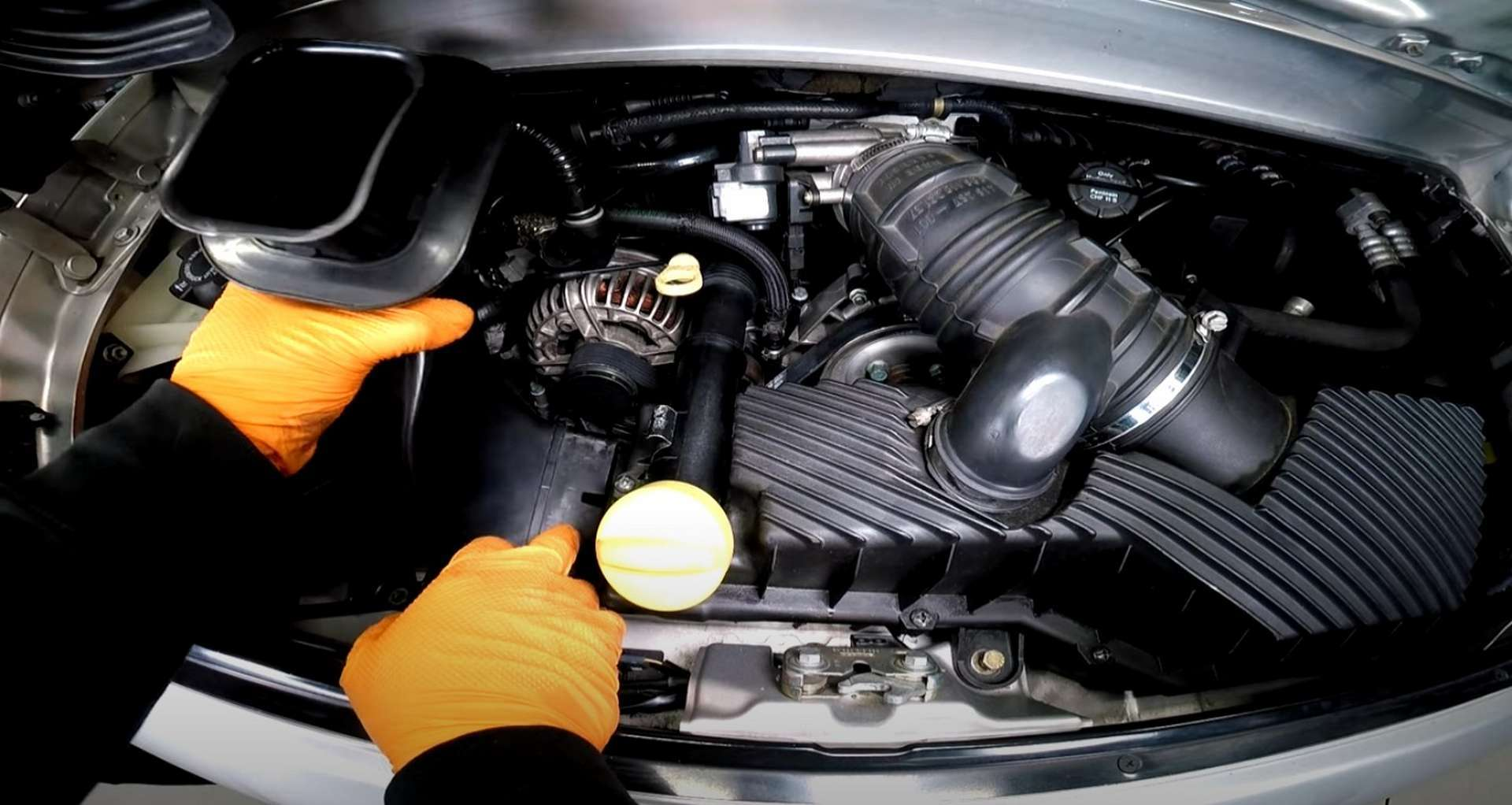 Porsche 996 Accessory Belt Drive System Replacement fitting the intake snorkel