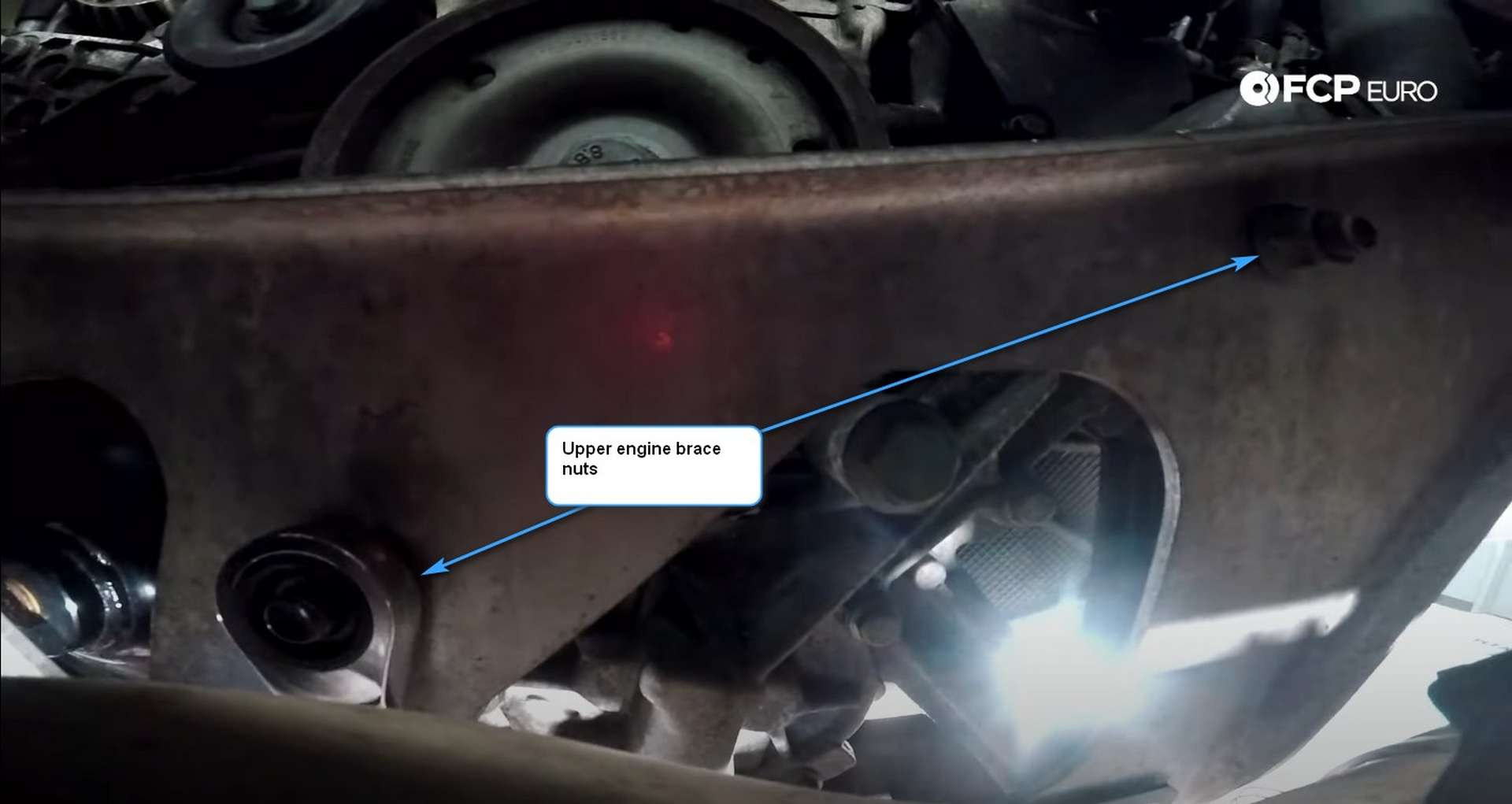 DIY Porsche 996 911 Water Pump And Thermostat Replacement upper engine brace nuts location