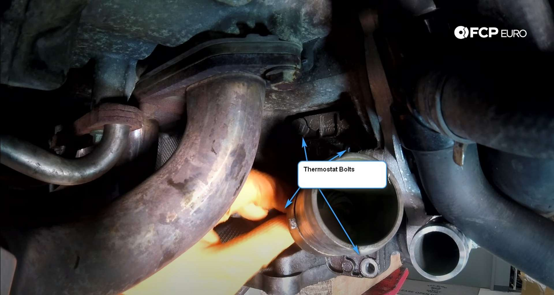 DIY Porsche 996 911 Water Pump And Thermostat Replacement thermostat bolt locations
