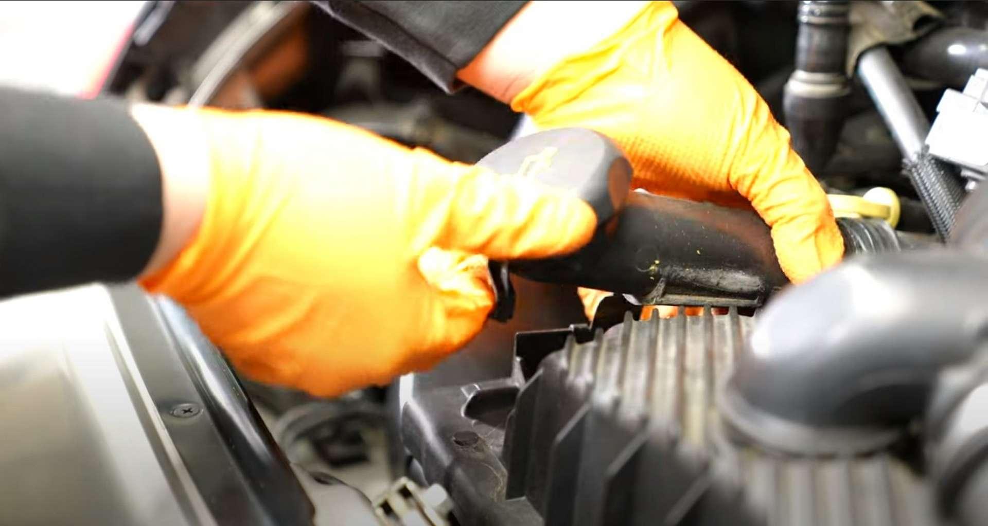 Porsche 996 Accessory Belt Drive System Replacement unplugging the mass airflow sensor