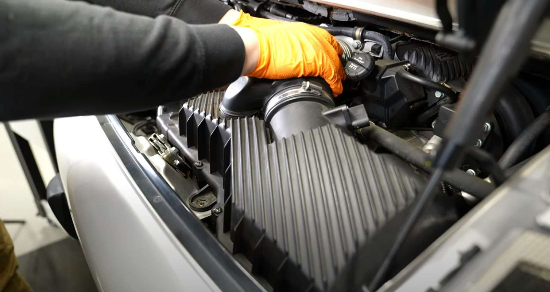 Porsche 996 Accessory Belt Drive System Replacement removing the airbox