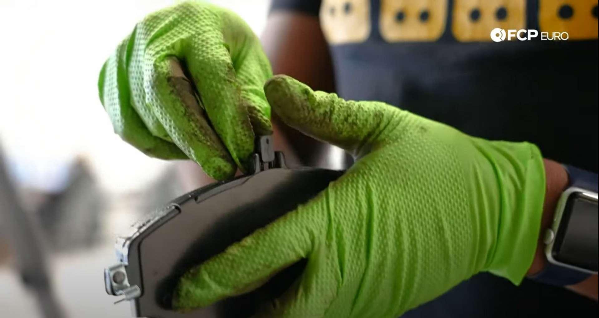 DIY Mercedes-Benz W205 Front Brake Service installing the new pad wear sensor