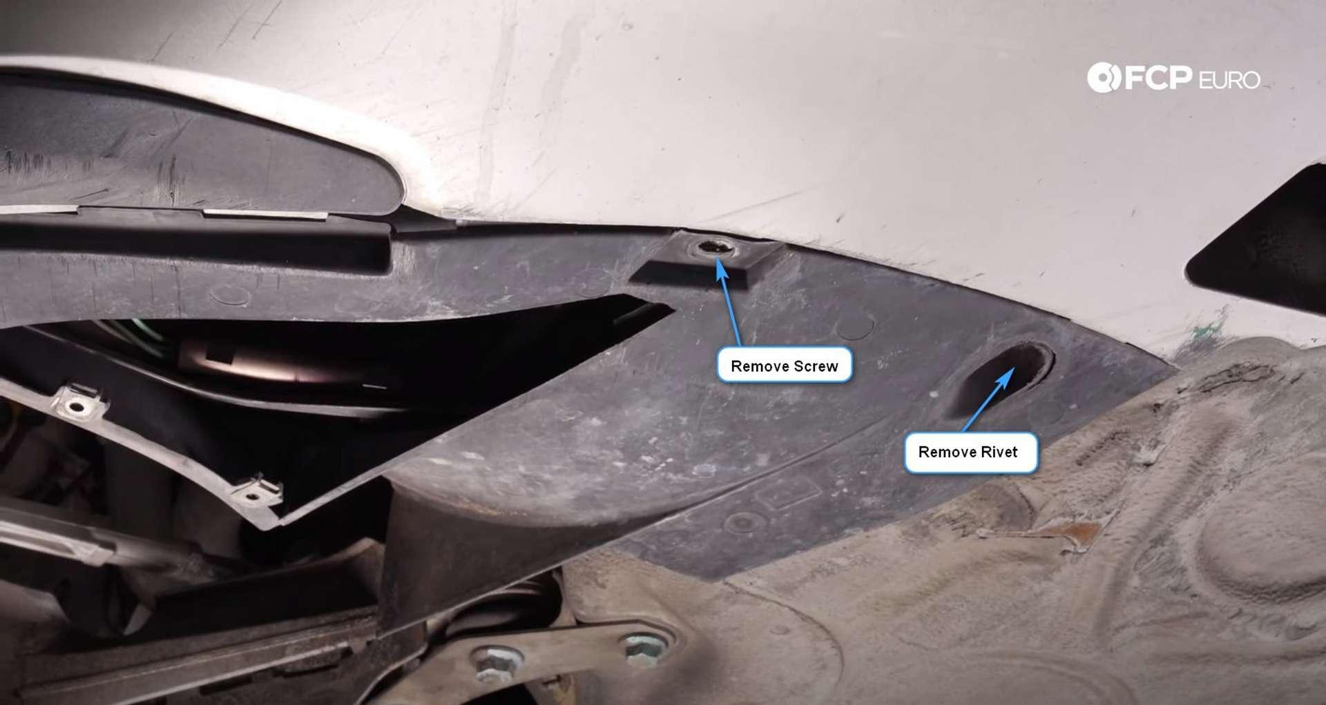 DIY Porsche 996 Radiator Replacement fender liner to bumper screw and rivet