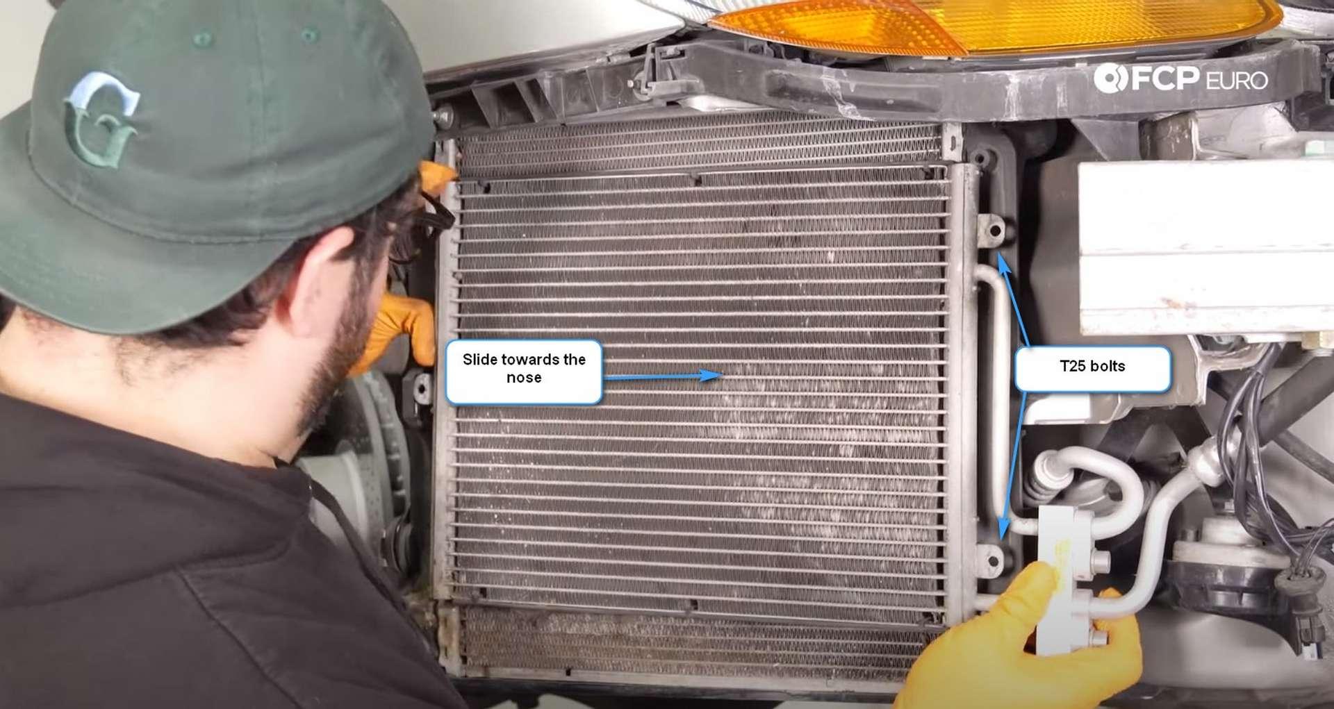 DIY Porsche 996 Radiator Replacement moving the A/C condenser