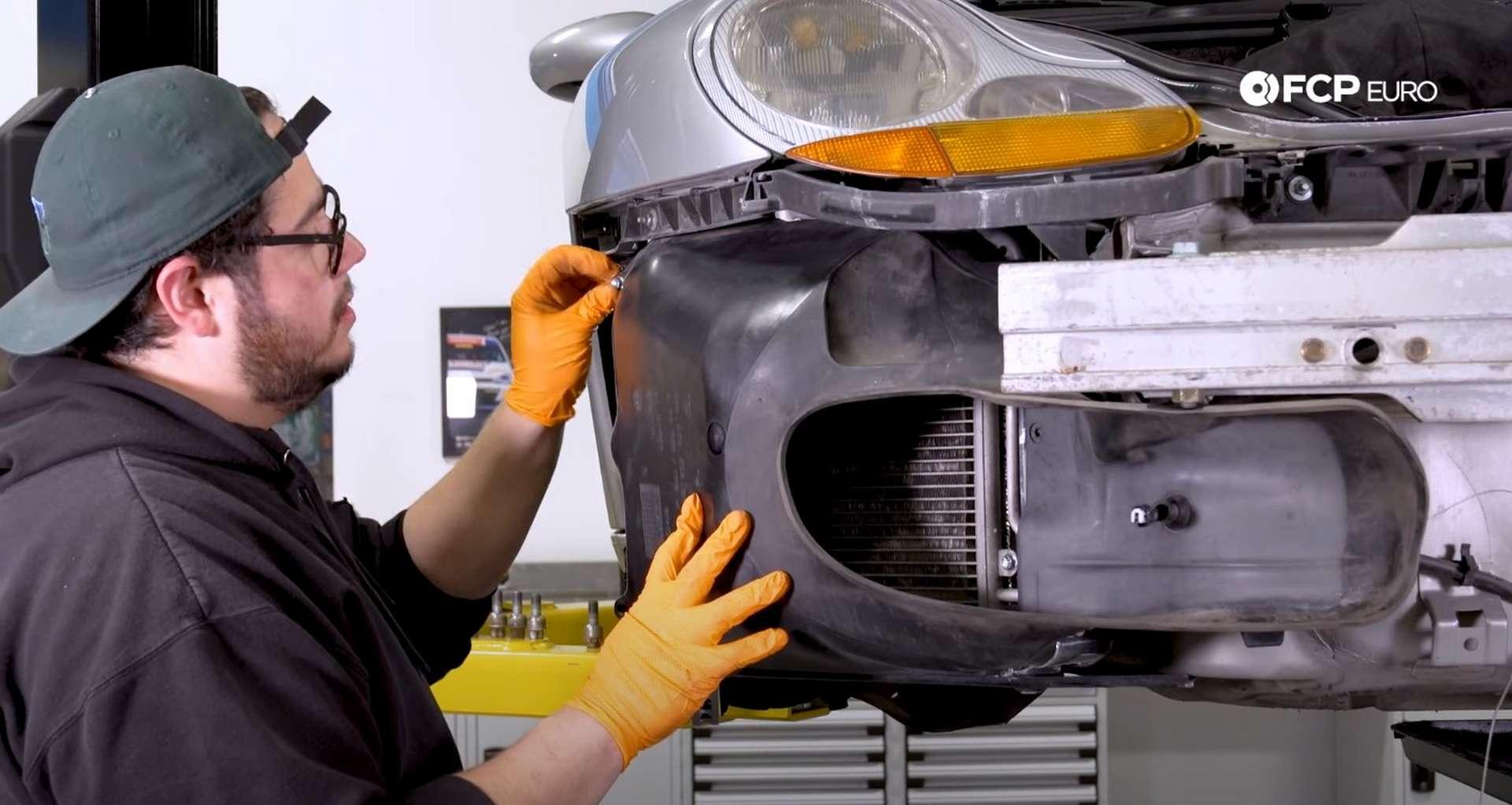DIY Porsche 996 Radiator Replacement refitting the ducting