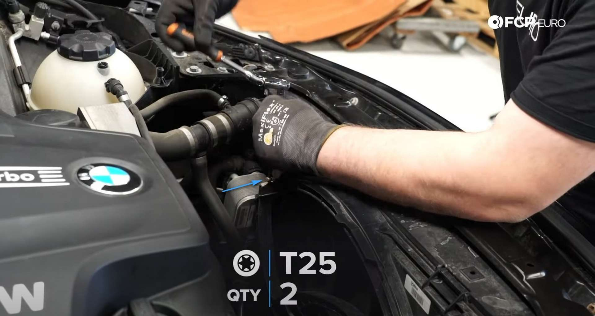DIY BMW F30 Oil Filter Housing Gasket Replacement loosening the negative battery cable connection