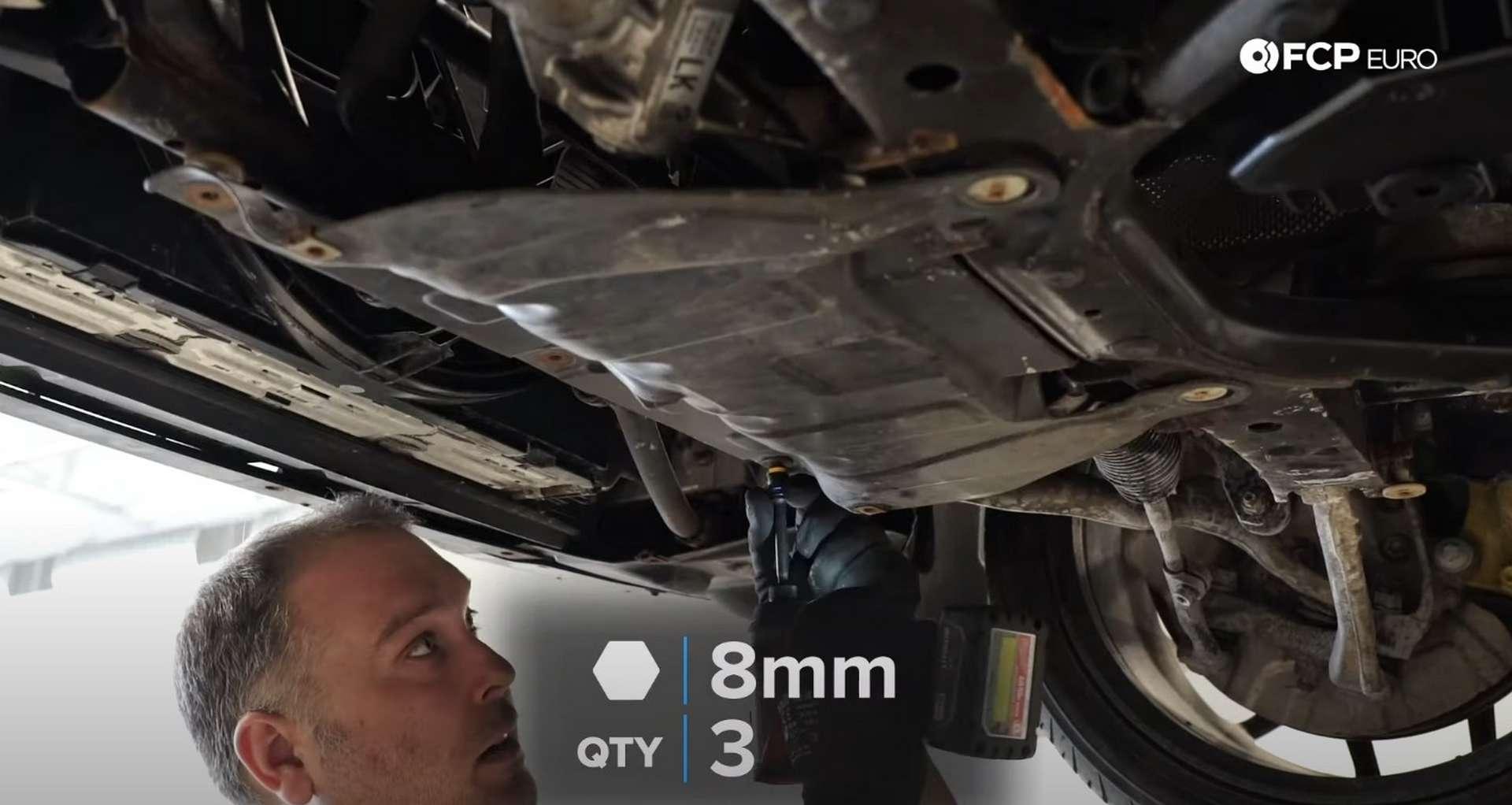 DIY BMW F30 Radiator Replacement removing the splash shield