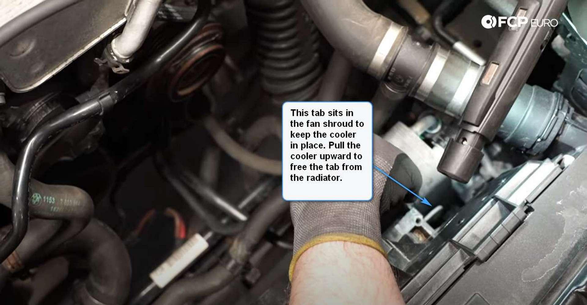 DIY BMW F30 Radiator Replacement removing the upper radiator fastene