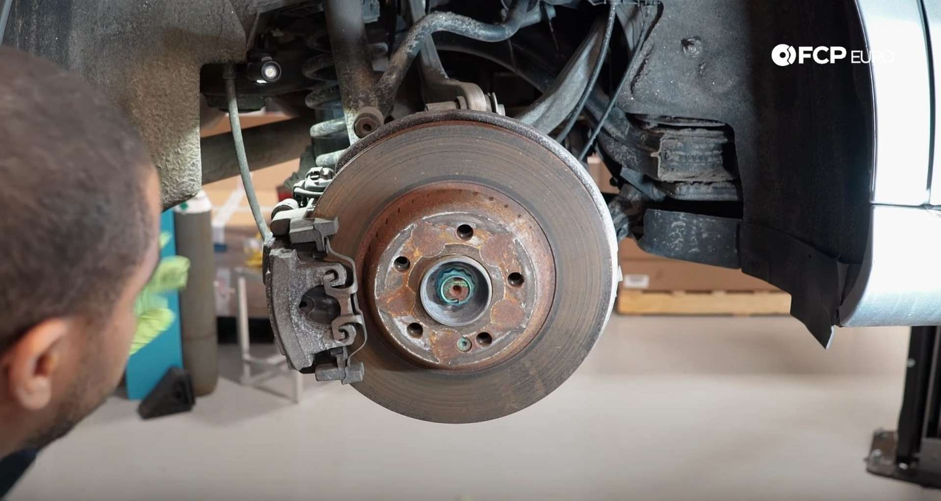 DIY Mercedes W205 Rear Brake Service removing the calipers anti-rattle clip