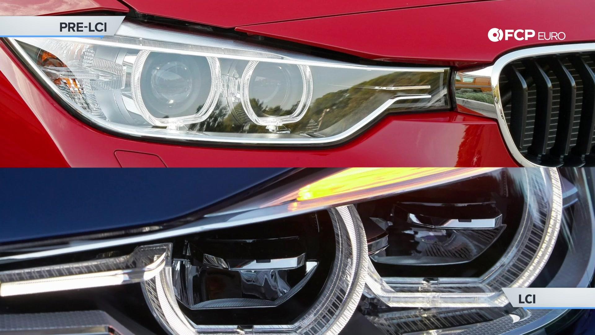 EVERGREEN BMW E90 VS F30 LCI headlight differences