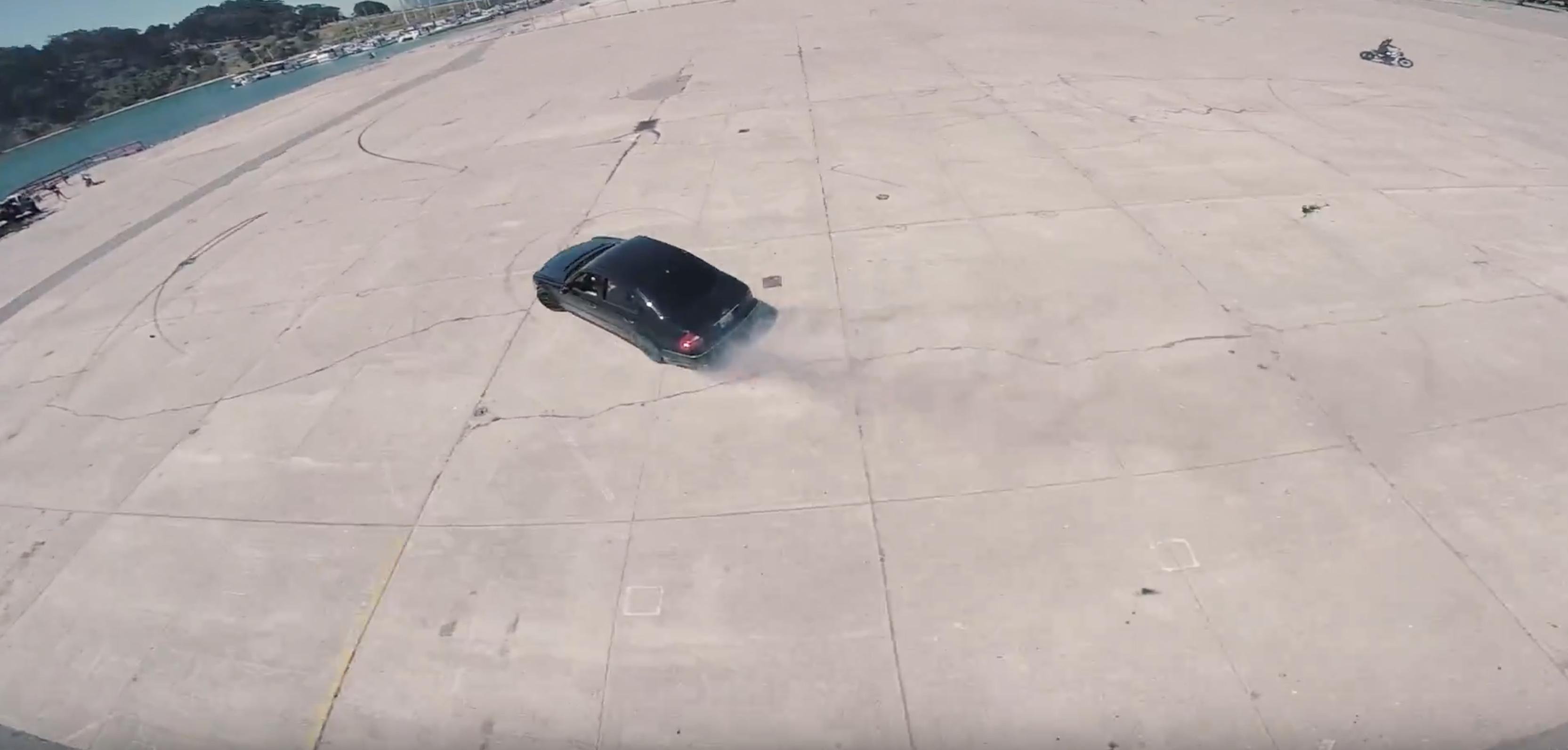 Aerial Mercedes E55 Drift