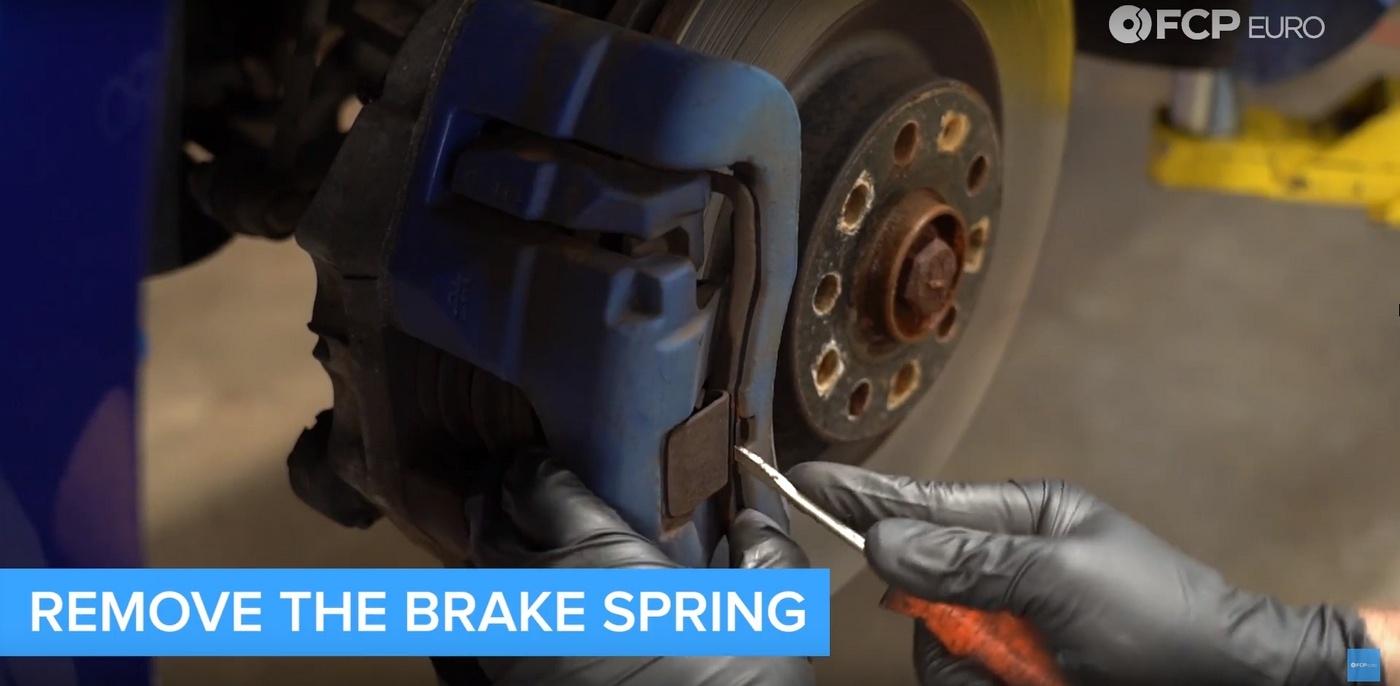 VW DIY Brake Job Caliper Spring Removal
