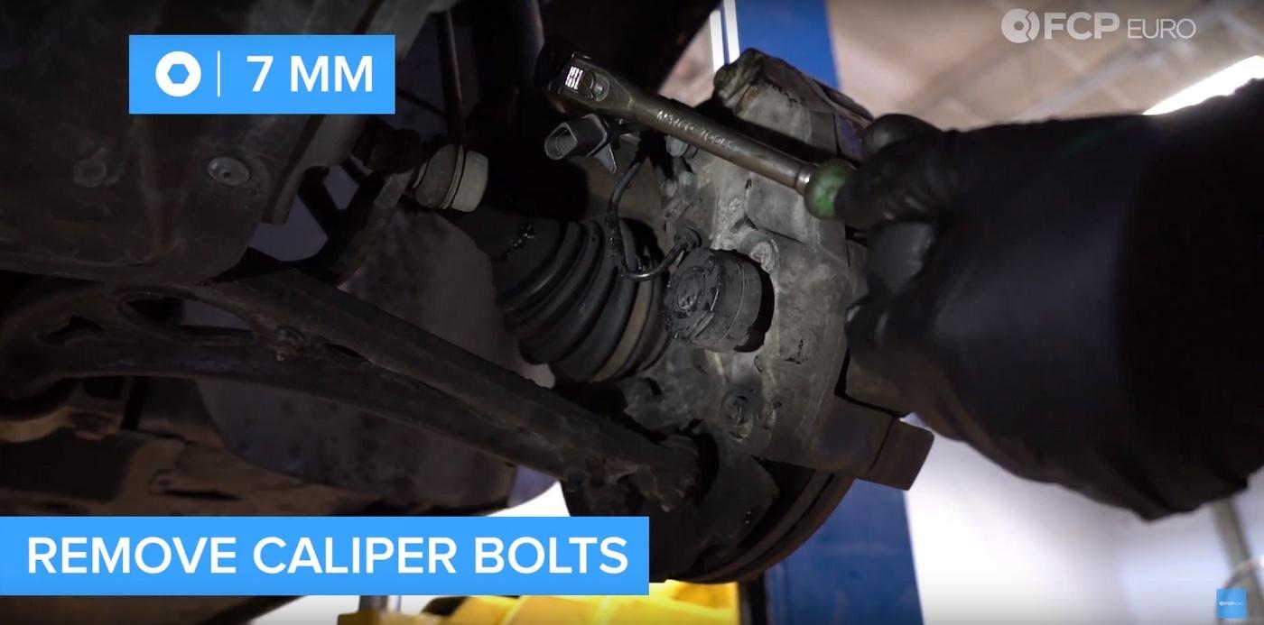 VW DIY Brake Job Caliper Bolt Removal
