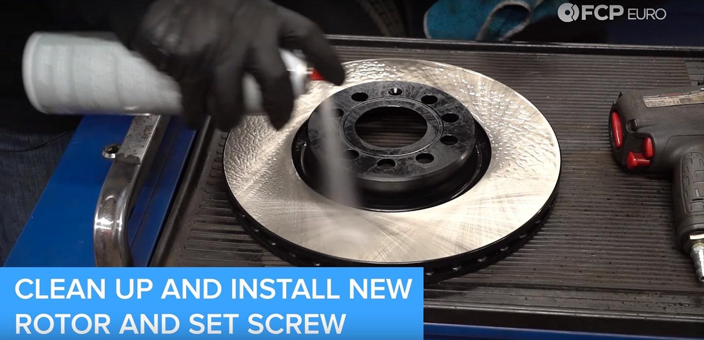 VW Audi Brake Job New Rotor Cleaning