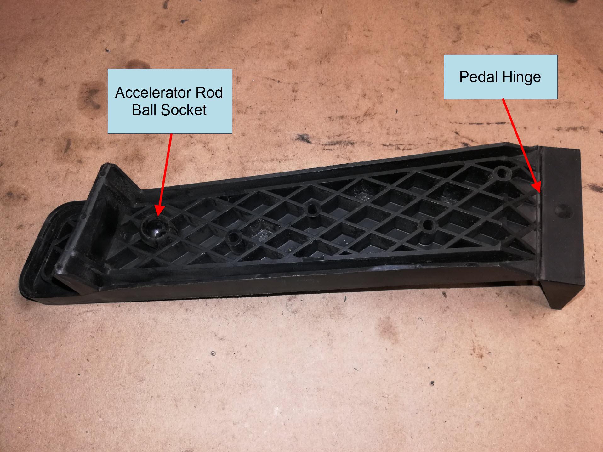 Air-cooled Porsche 911 accelerator pedal detail.