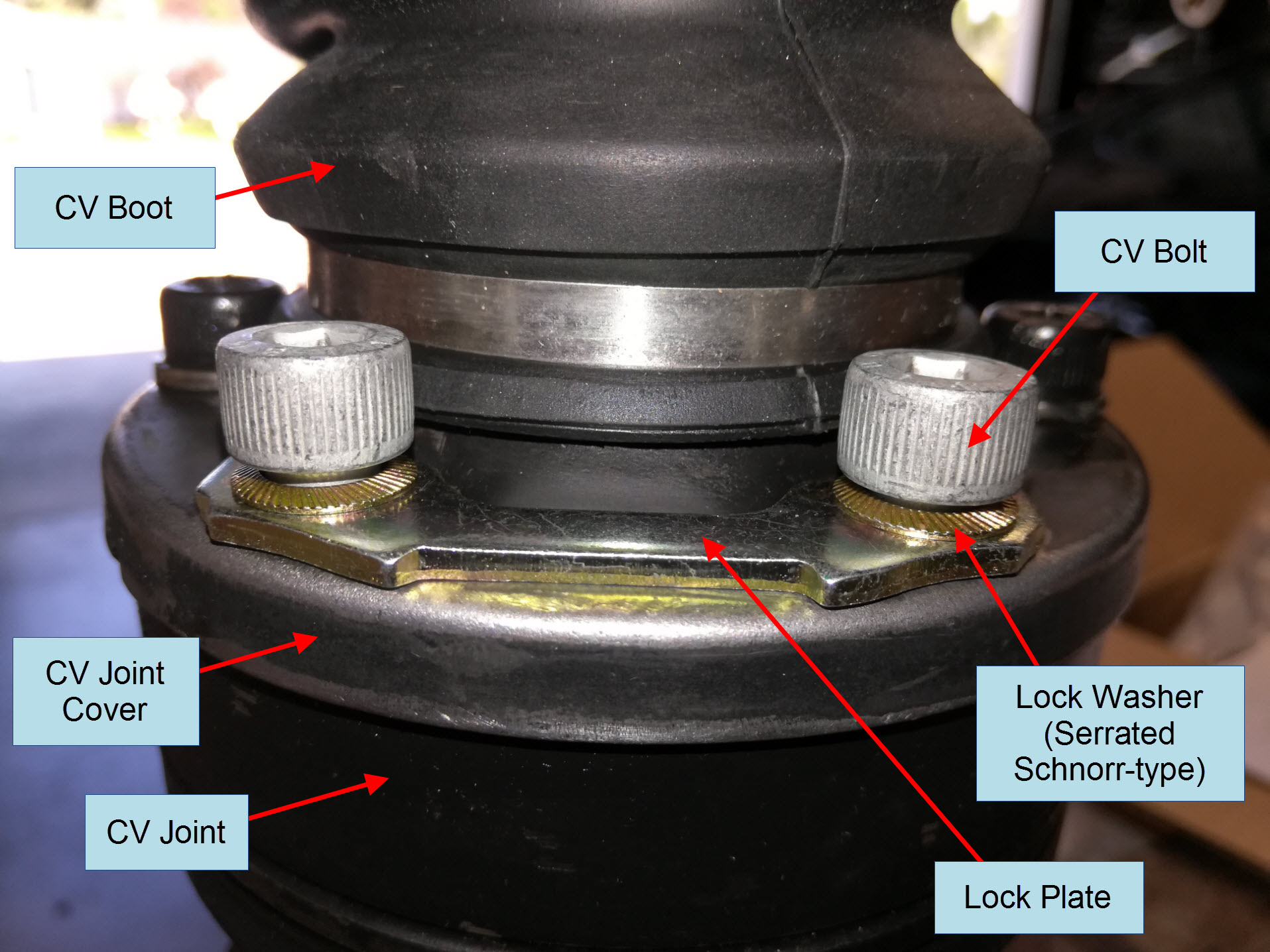 Air-cooled Porsche 911 CV joint mounting hardware detail.