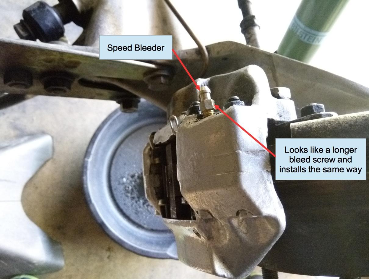 Air-cooled Porsche 911 brake caliper with Speed Bleeder