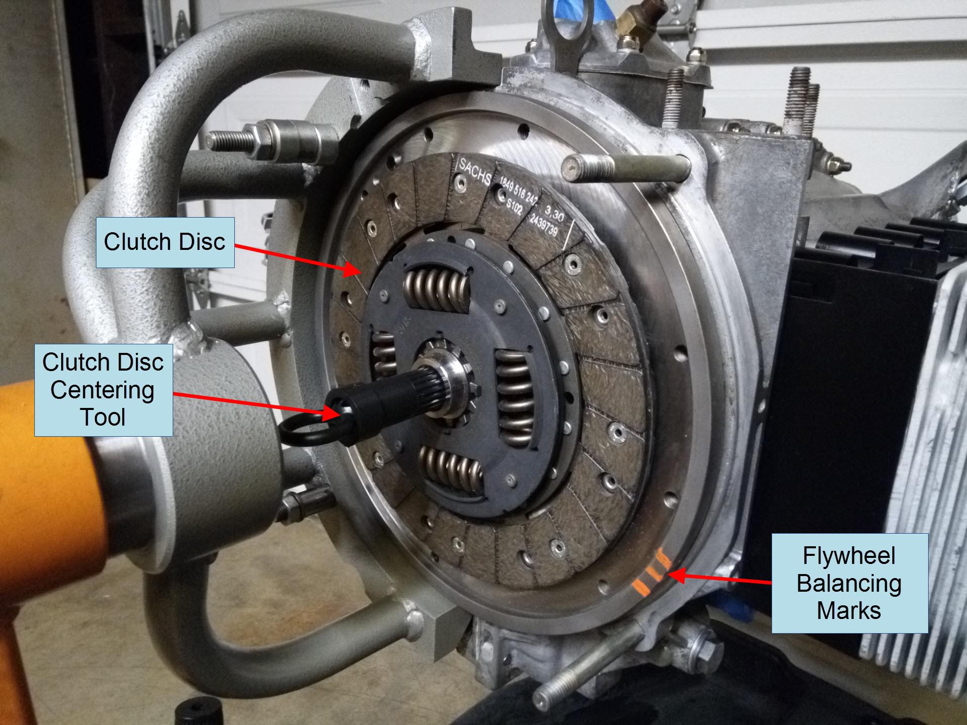 Air-cooled Porsche 911 clutch disc installation.