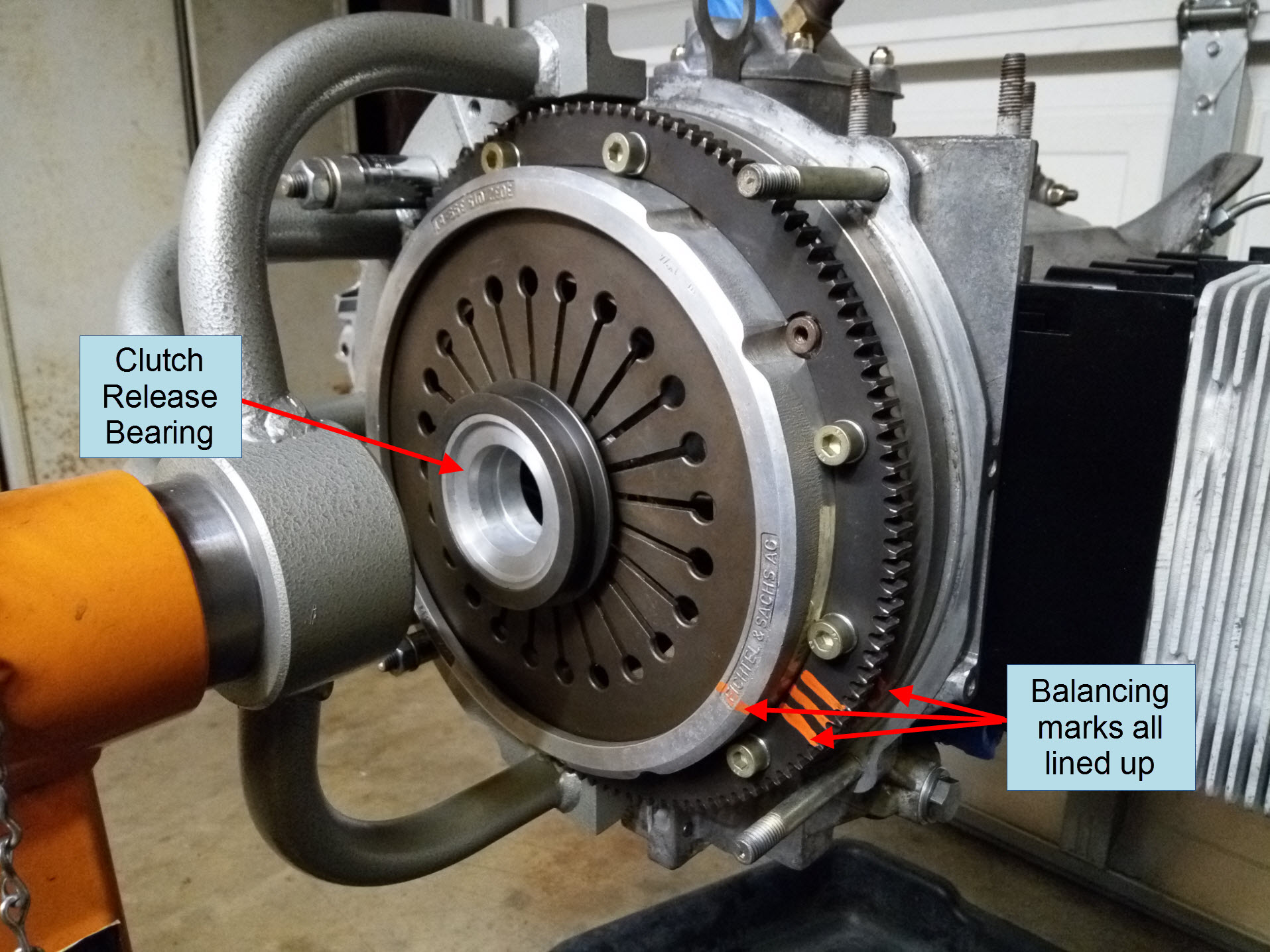 Air-cooled Porsche 911 pressure plate and clutch release bearing installation.