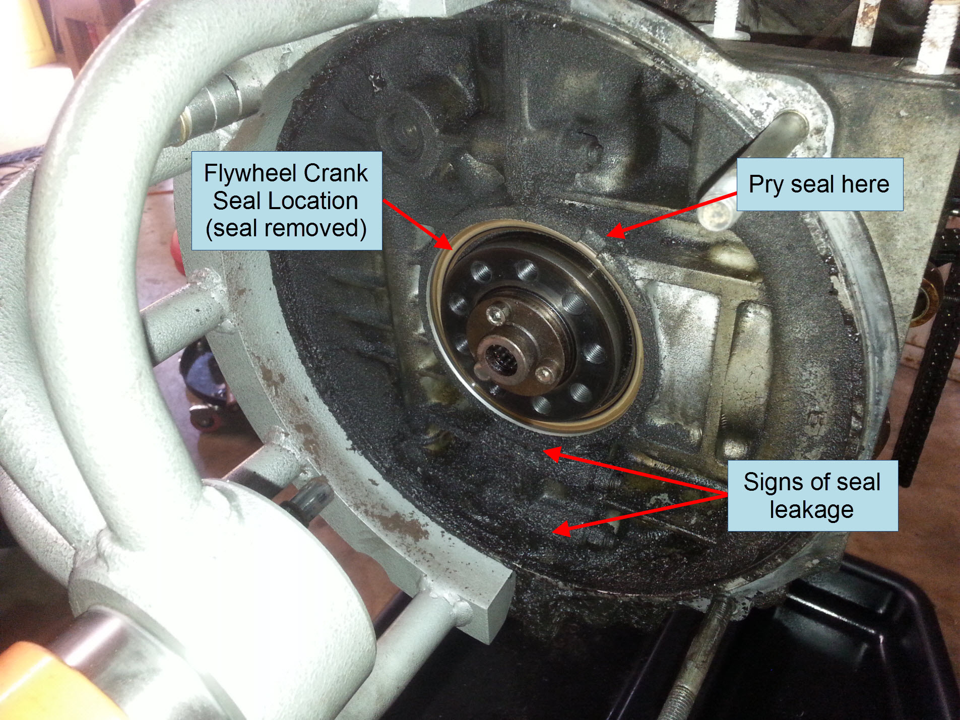 Air-cooled Porsche 911 flywheel crank seal removal.
