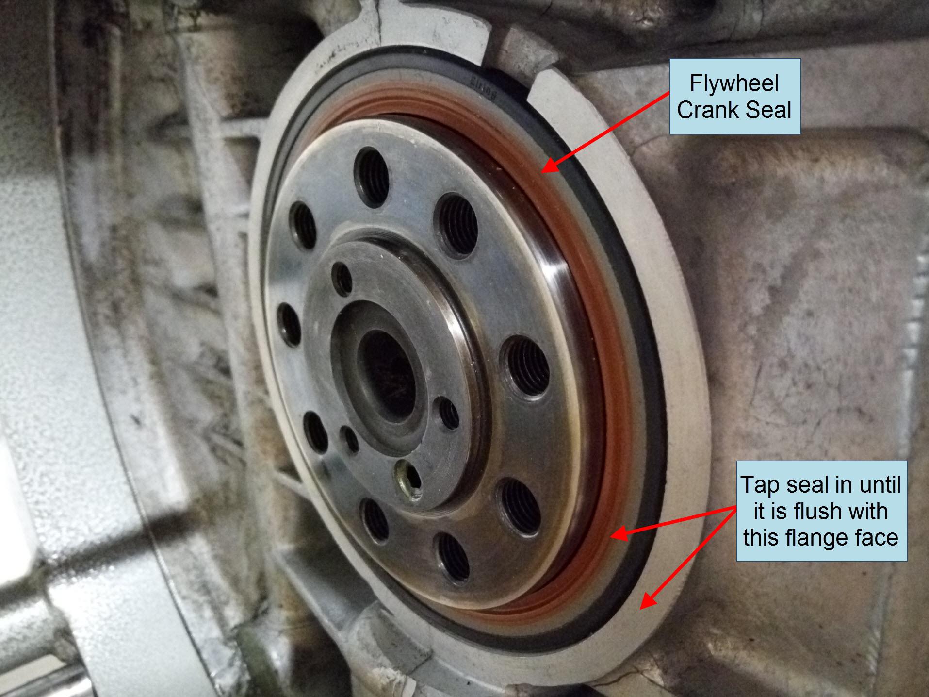 Air-cooled Porsche 911 flywheel crank seal installation.
