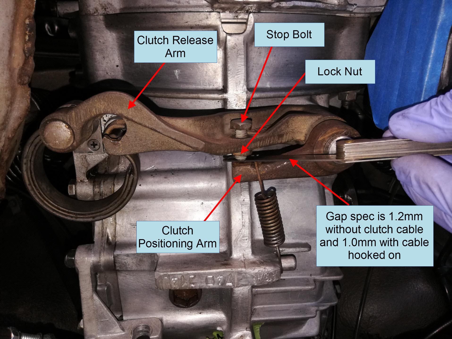 Air-cooled Porsche 911 late gearbox clutch cable adjustment.
