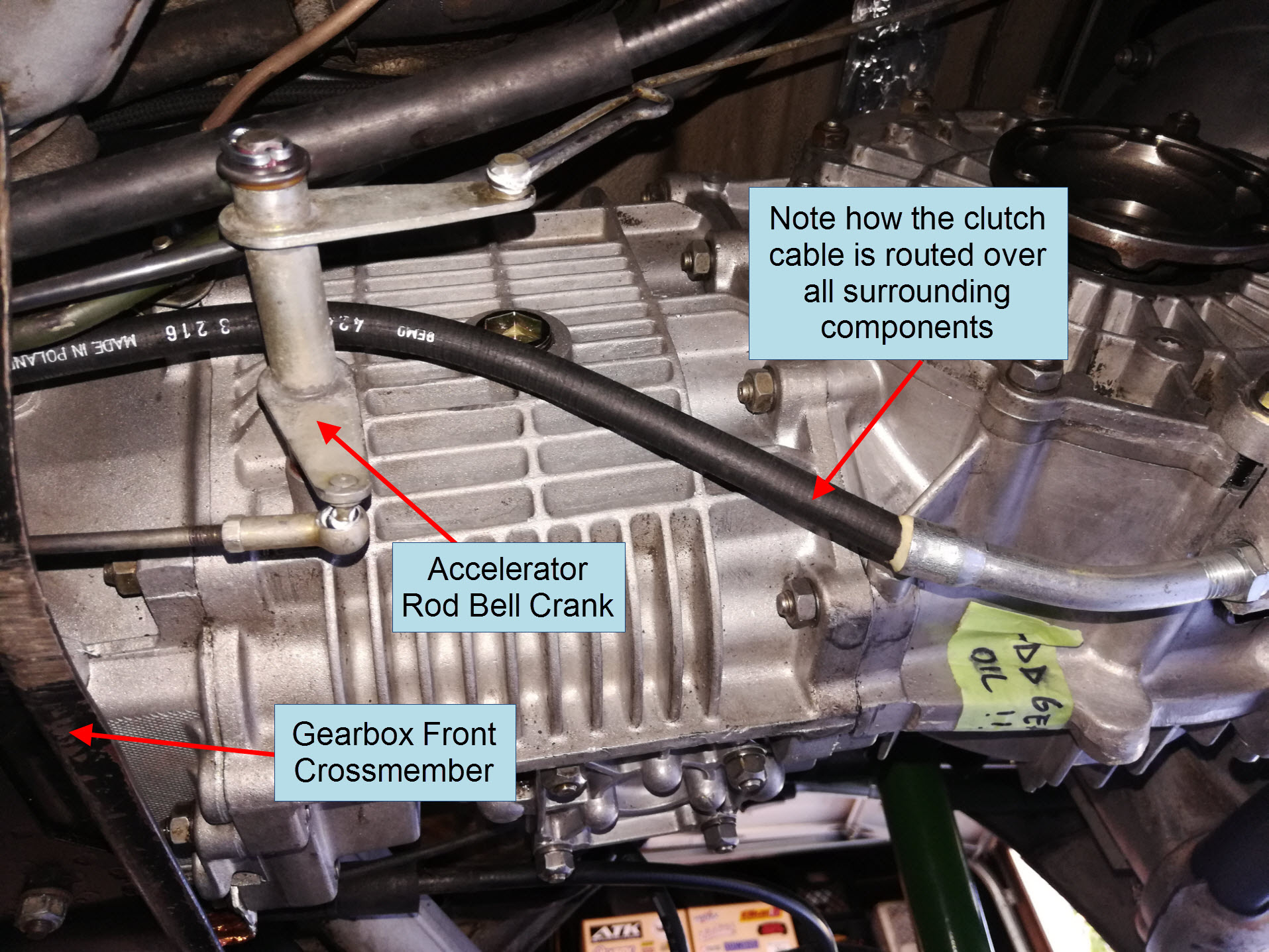 Air-cooled Porsche 911 clutch cable routing.