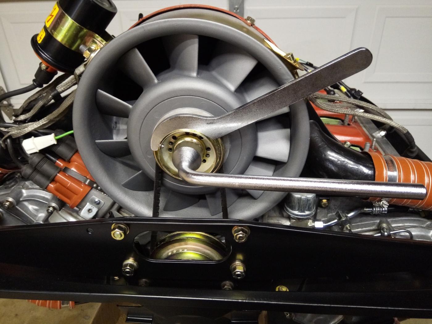 Air-cooled Porsche 911 fan belt tools