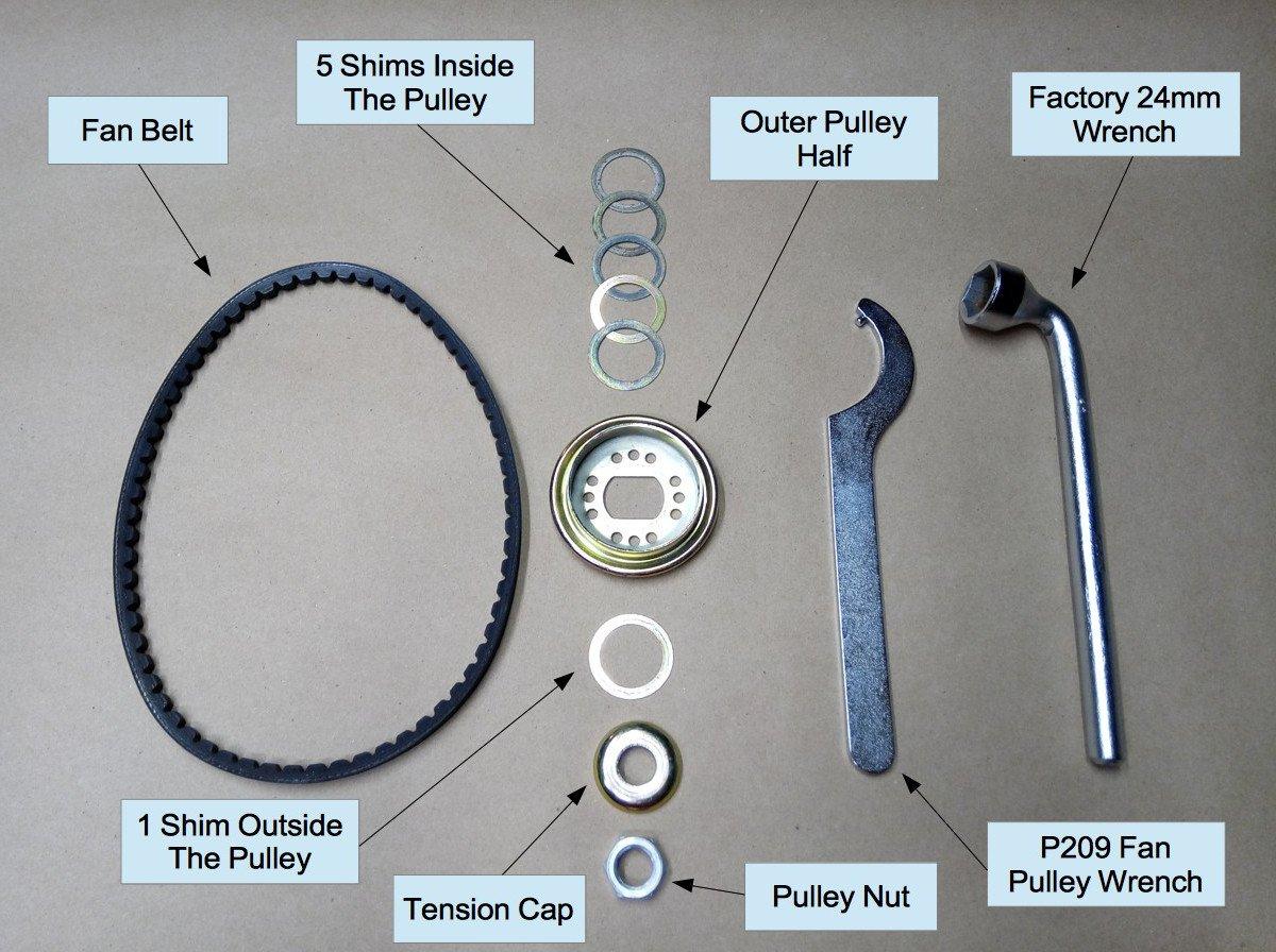 Air-cooled Porsche 911 fan belt subcomponents
