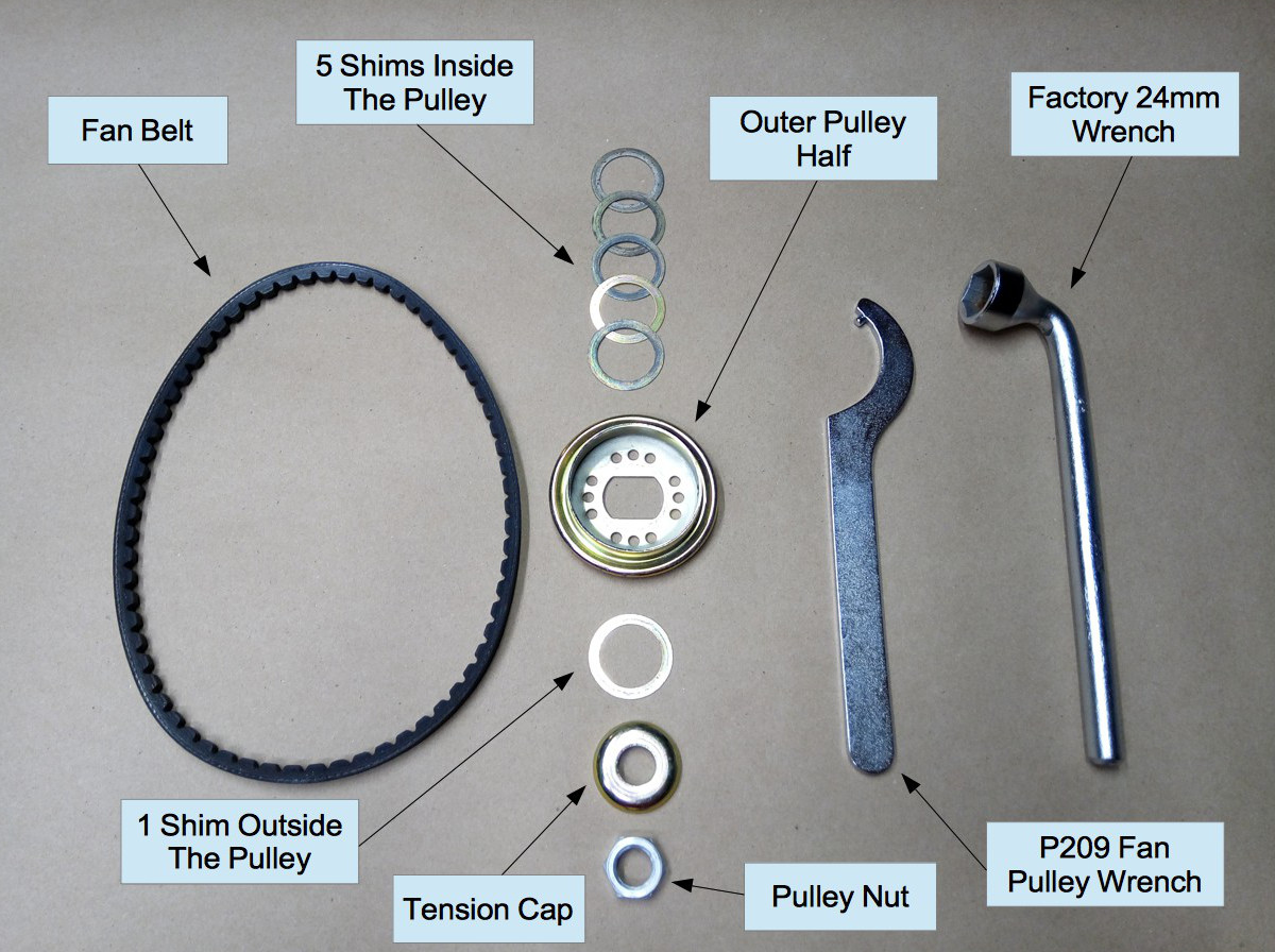 Air-cooled Porsche 911 fan belt subcomponents